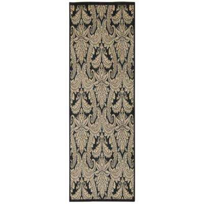 Aristo Black/Beige 2 ft. x 8 ft. Runner Rug