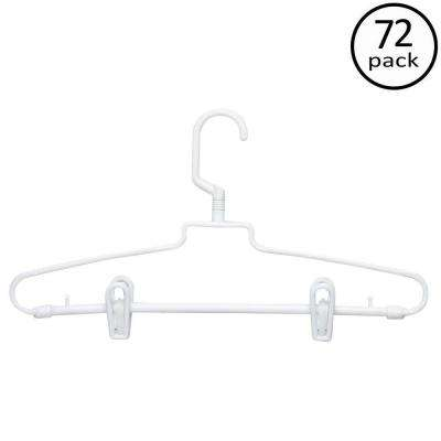 White Hotel Style Hangers with Clips (72-Pack)