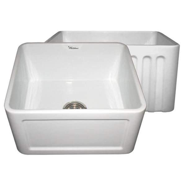 Whitehaus Collection Reversible Concave Farmhaus Series Farmhouse Apron Front Fireclay 20 In Single Bowl Kitchen Sink In White Whflcon2018 Wh The Home Depot