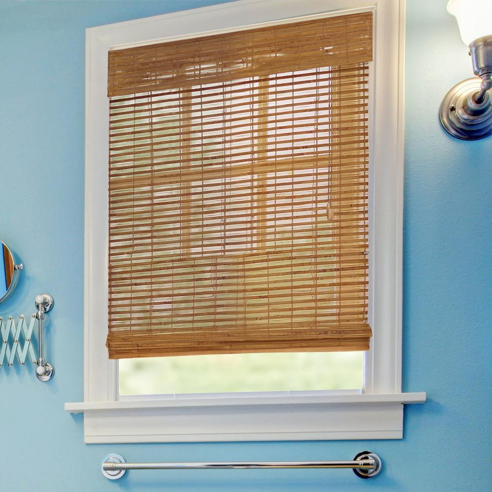 Home decorators collection honey bamboo weave bamboo roman shade 52 in w x 48 in l 0258666 - Home decorators collection blinds installation image ...