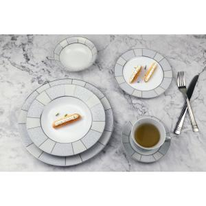 6009695d902ce 57-Piece Silver Border Porcelain Dinnerware Set · Lorren Home Trends ...
