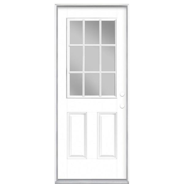 32 in. x 80 in. 9 Lite White Left Hand Inswing Painted Smooth Fiberglass Prehung Front Exterior Door with No Brickmold