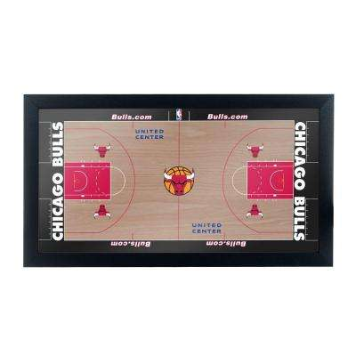 Chicago Bulls Official NBA Court 15 in. x 26 in. Black Framed Plaque