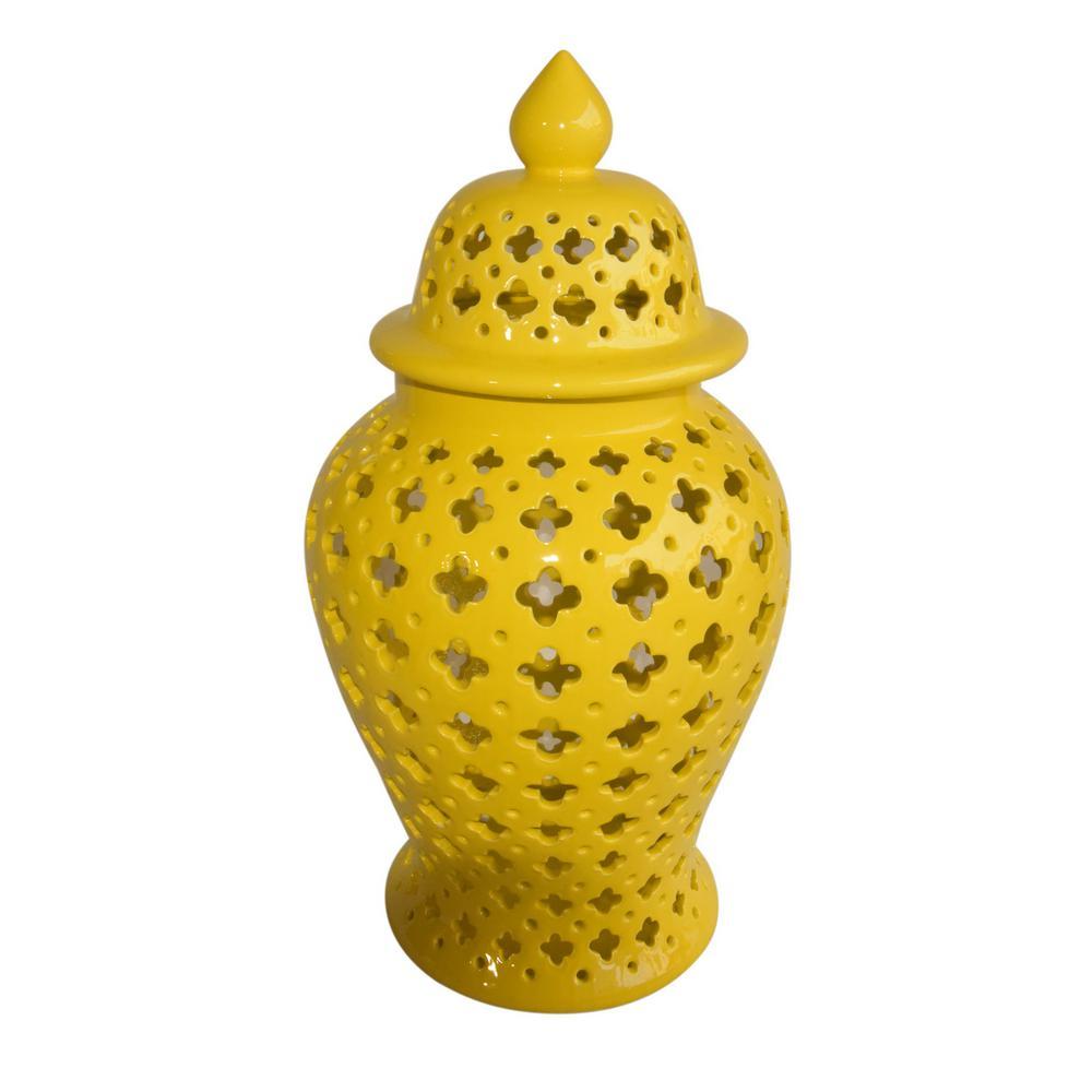 18 in. Yellow Lidded Ceramic Jar
