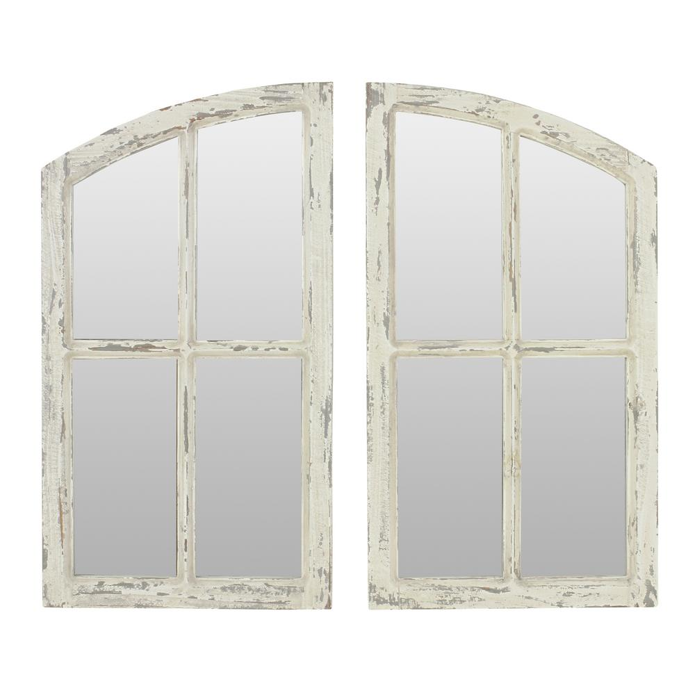 aspire home accents jolene arch window pane mirrors set of 2 6138