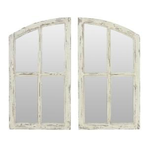 Aspire Home Accents Medium Arch Distressed Off White Finish Hooks Pueblo Mirror 27 In H X 15 In W 6138 The Home Depot
