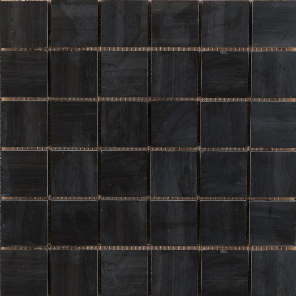 Emser Metro Black 12 in. x 12 in. x 9.39 mm Marble Mesh-Mounted Mosaic Tile