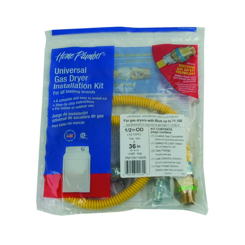 Dryer Parts Laundry The Home Depot Ac Wiring Gas Connector Kit With Auto Shut Off Ma