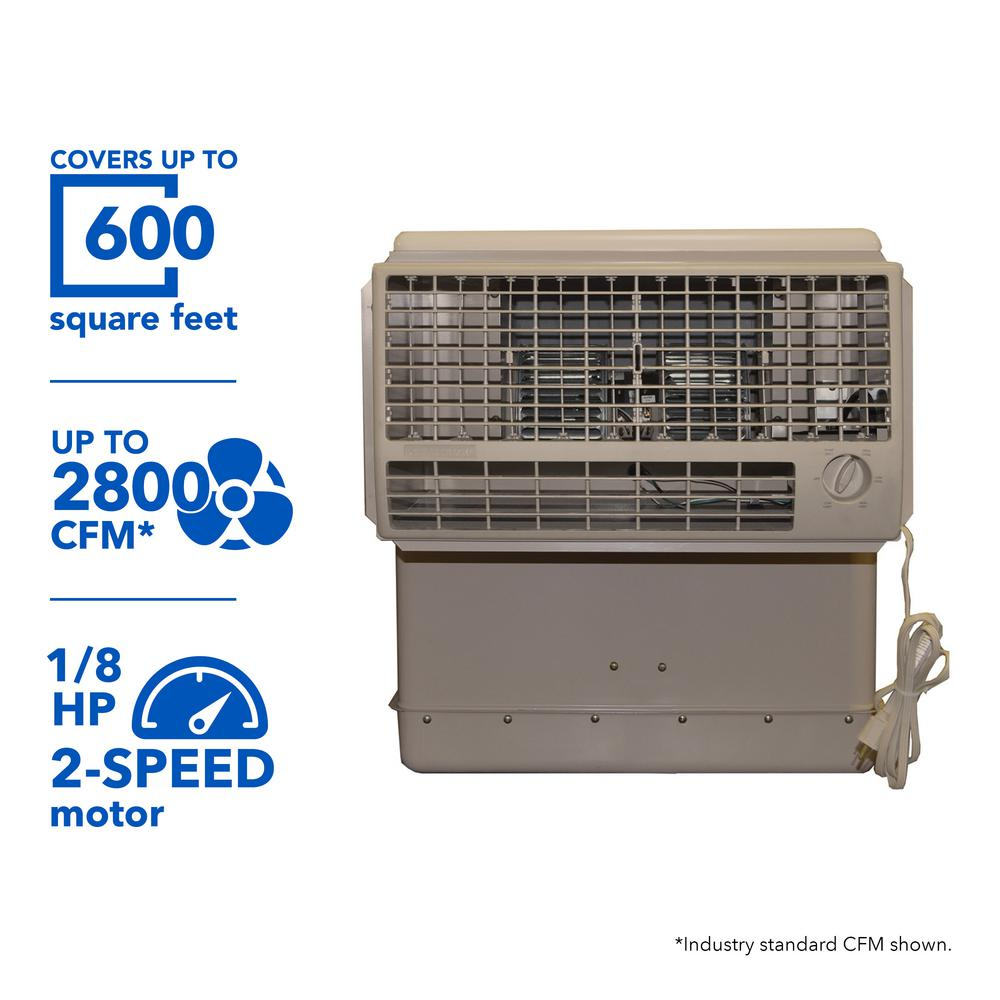 2800 CFM 2-Speed Window Evaporative Cooler for 600 sq. ft. (with