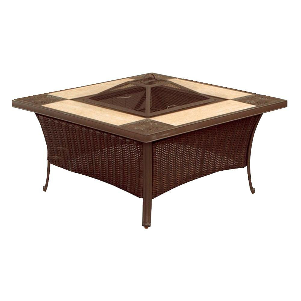 Hampton Bay Pembrey In Square Aluminum And Steel Fire Pit Table - Teak fire pit table