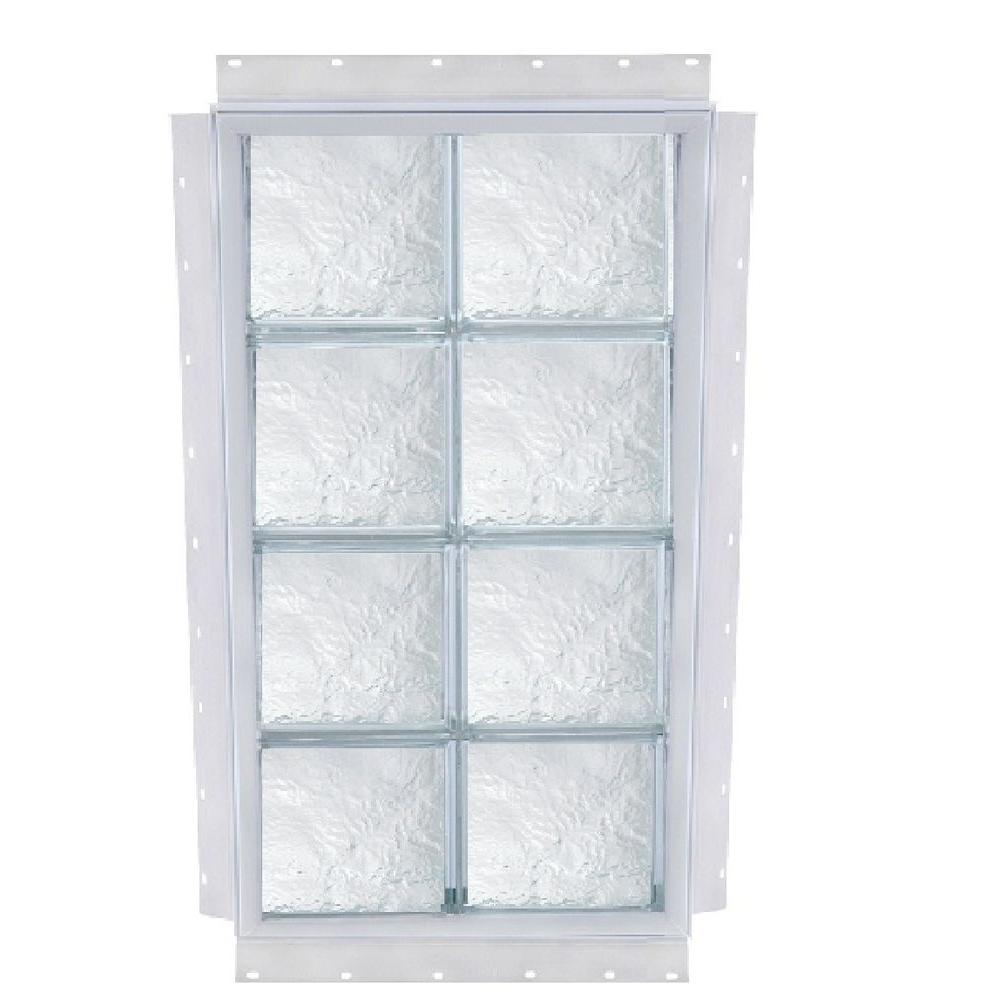 TAFCO WINDOWS NailUp 40 in. x 72 in. x 3-3/4 in. Ice Pattern Solid Glass Block New Construction Window with Vinyl Frame-DISCONTINUED