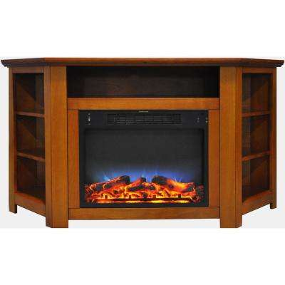 Tyler Park 56 in. Electric Corner Fireplace in Teak with LED Multi-Color Display