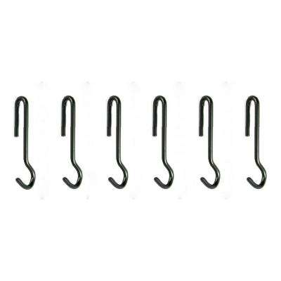 Angled Pot Hook Set of 6 Use with Pot Racks in Hammered Steel