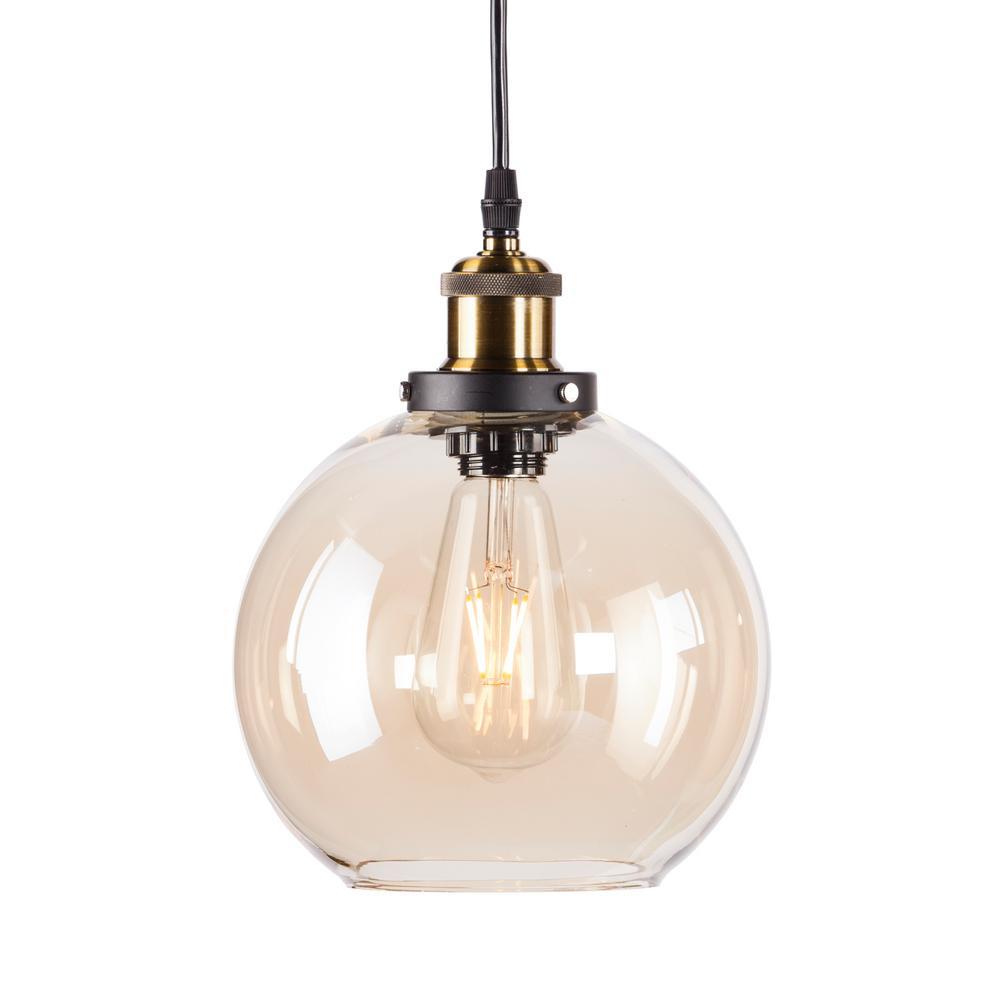 Cameron 1 Light Golden Amber Globe Mini Pendant Lamp