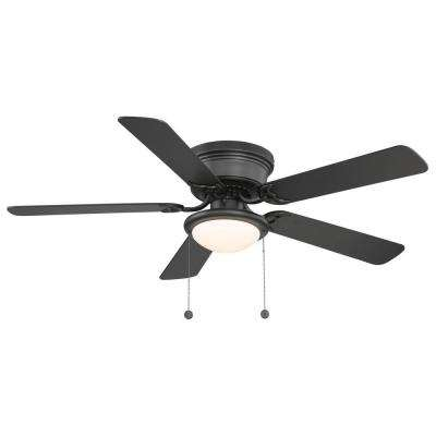 Hugger 52 in. LED Indoor Black Ceiling Fan with Light Kit