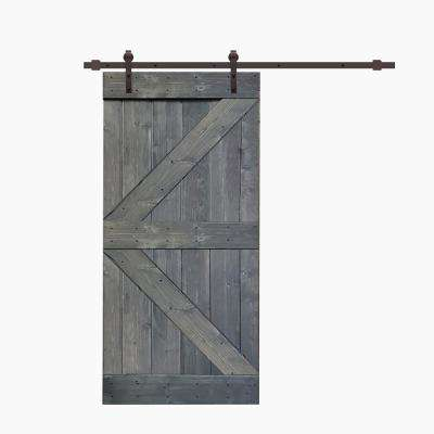 K Series 42  in. x 84 in. Gray Knotty Pine Wood Interior Sliding Barn Door with Hardware Kit