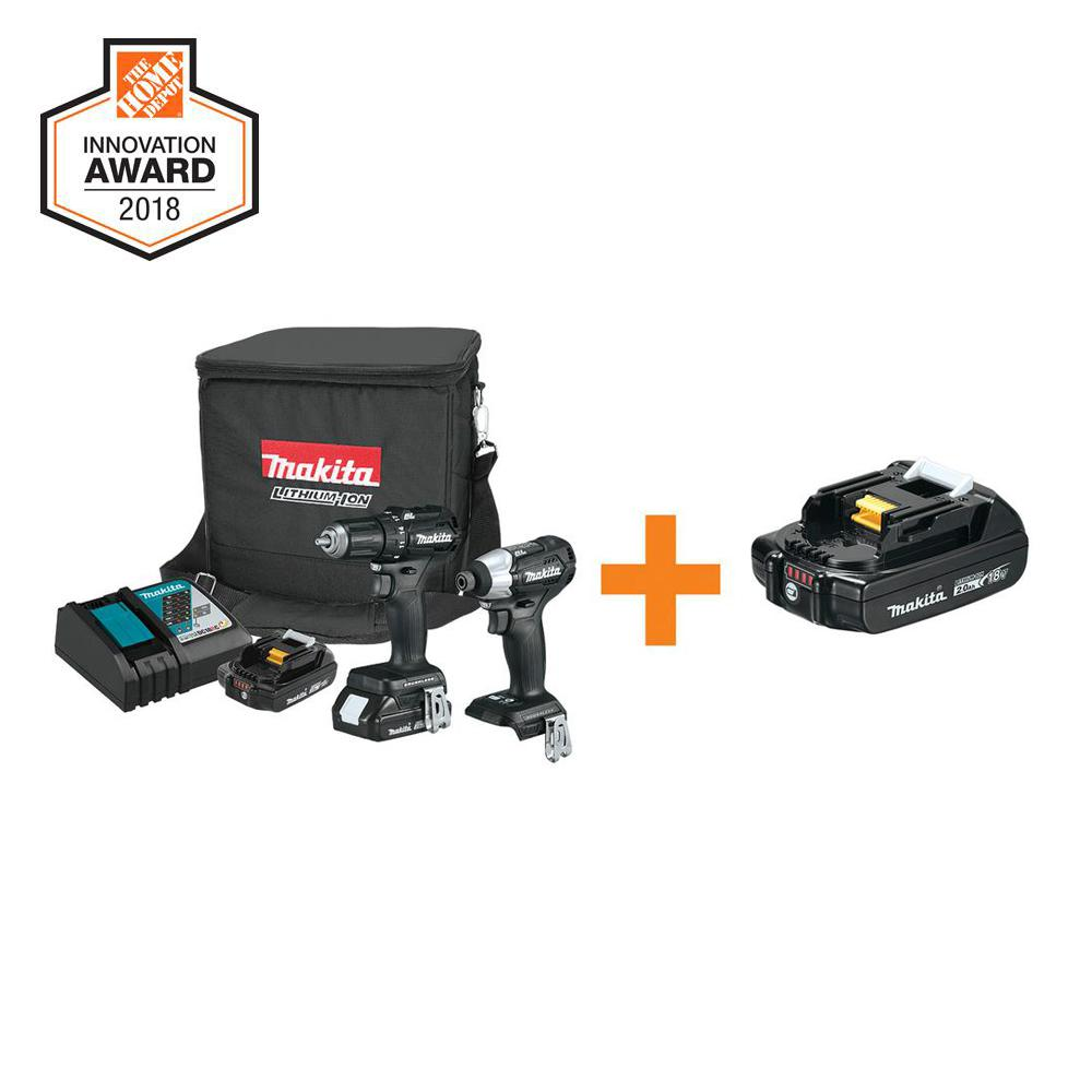 18-Volt 2.0Ah Lithium-Ion Sub-Compact BL Combo Kit (2-Piece) with Bonus 18-Volt