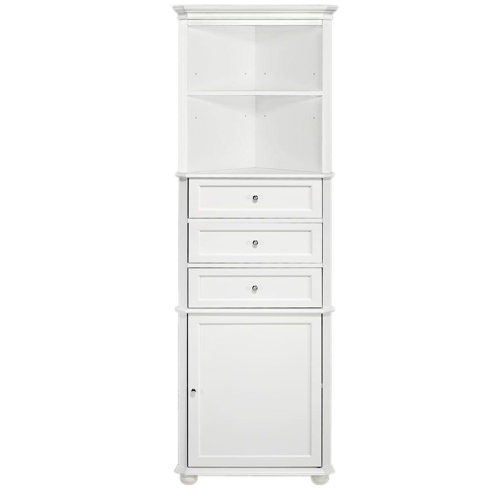 Reviews For Home Decorators Collection Hampton Harbor 23 In W X 13 In D X 67 1 2 In H Corner Linen Cabinet In White Bf 21893 Wh The Home Depot