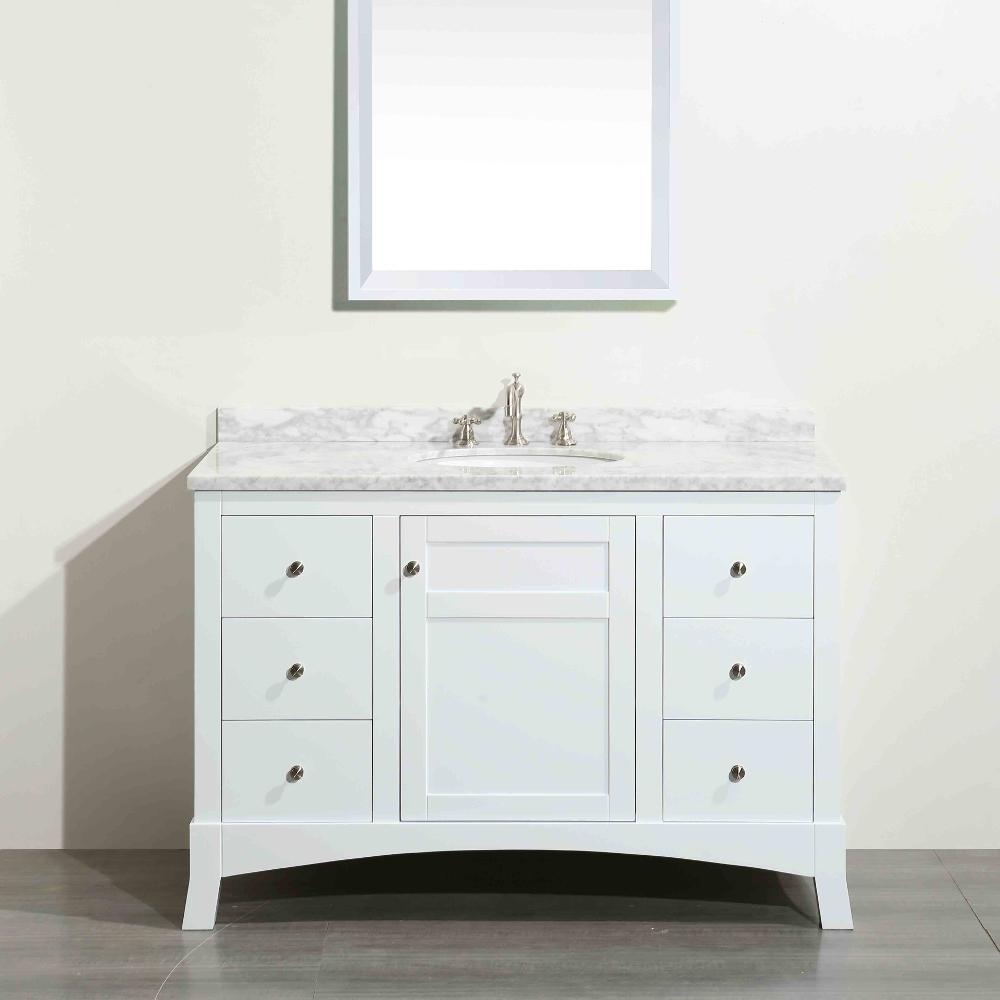 Eviva New York 48 In W X 22 In D X 34 In H Vanity In White With Carrara Marble Vanity Top In White With White Basin