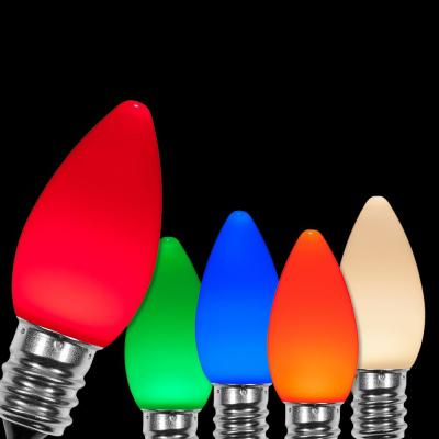 OptiCore C7 LED Multi-Color Smooth/Opaque Christmas Light Bulbs (25-Pack)