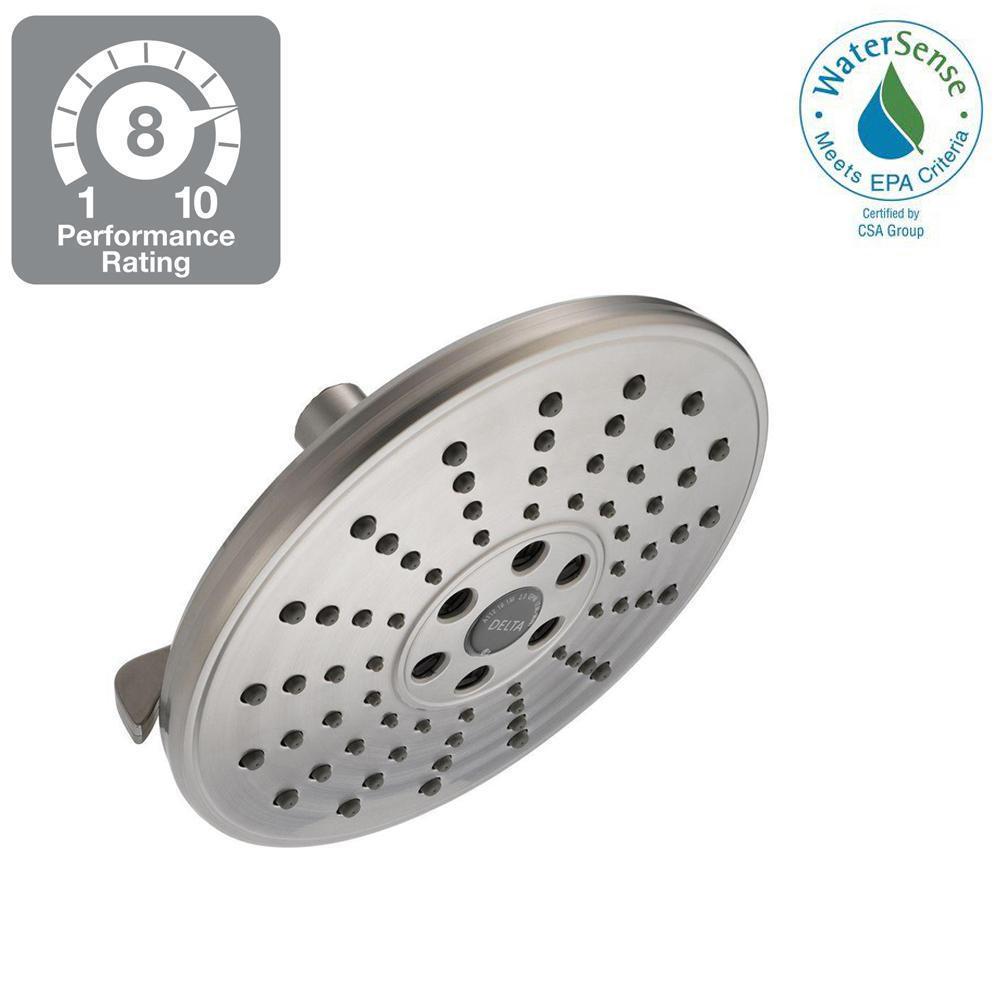 Delta 3-Spray 7-11/16 in. H2Okinetic Showerhead in SpotShield ...