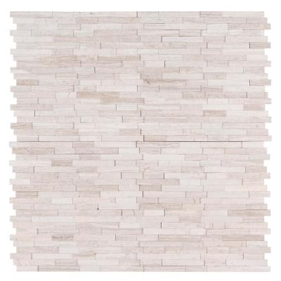White Quarry Interlocking 3D Peel and Stick 12 in. x 12 in. x 6mm Honed Marble Mosaic Tile (15 sq. ft. / case)