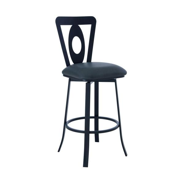Lola Contemporary 30 in. Bar Height Bar Stool in Matte Black and Grey Faux Leather