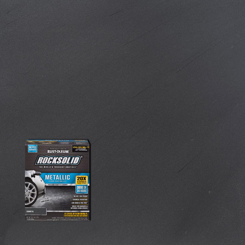 Rust Oleum Rocksolid 70 Oz Gunmetal Metallic Garage Floor Kit