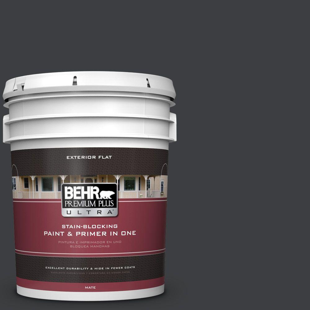 BEHR Premium Plus Ultra 5-gal. #N520-7 Carbon Flat Exterior Paint