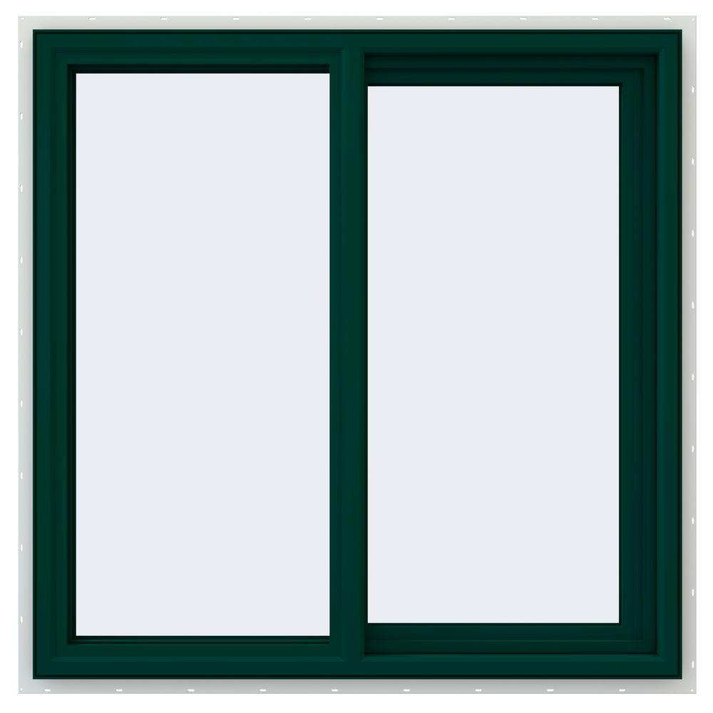 JELD-WEN 35.5 in. x 35.5 in. V-4500 Series Right-Hand Sliding Vinyl Window - Green