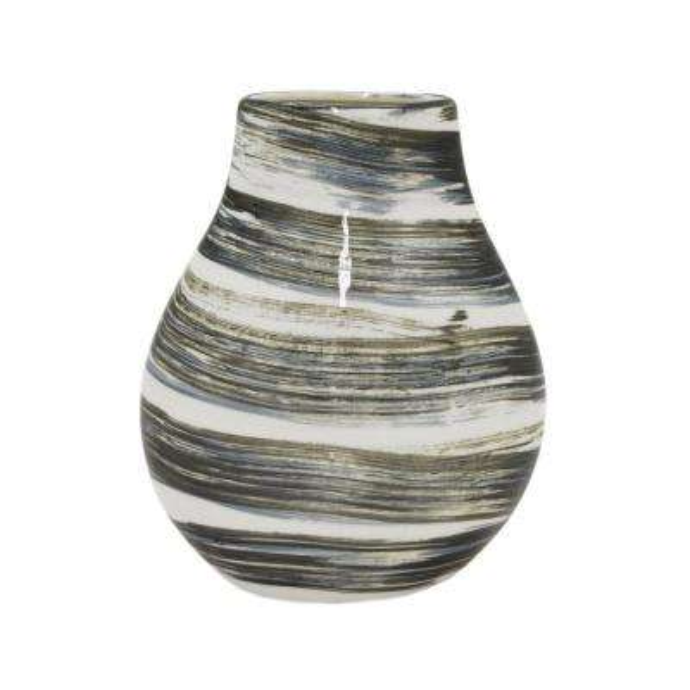 Decorative Black and White Ceramic Vase with Glossy