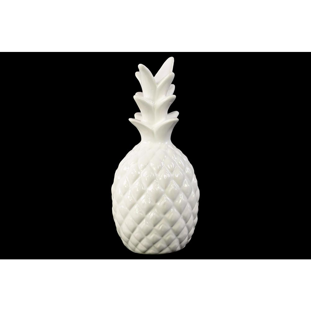 Urban Trends Collection 10 in. H Pineapple Decorative Figurine in White  Gloss Finish