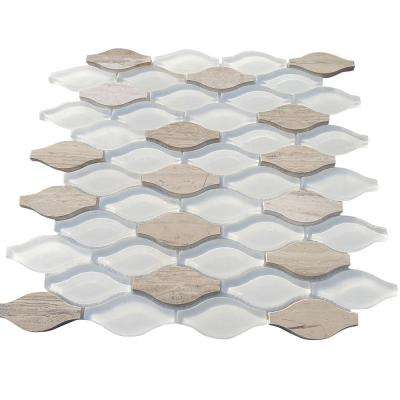 Micro Sunflower Glass and Marble Floor and Wall Tile - 3 in. x 6 in. Tile Sample