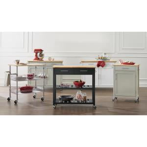 StyleWell Gatefield Chrome Large Kitchen Cart with Rubber ...