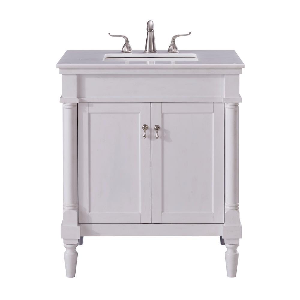 Wagner 30 In Single Bathroom Vanity With 1 Shelf 2 Doors Marble Top