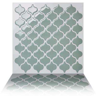 Damask Jade 10 in. W x 10 in. H Peel and Stick Self-Adhesive Decorative Mosaic Wall Tile Backsplash (5-Tiles)
