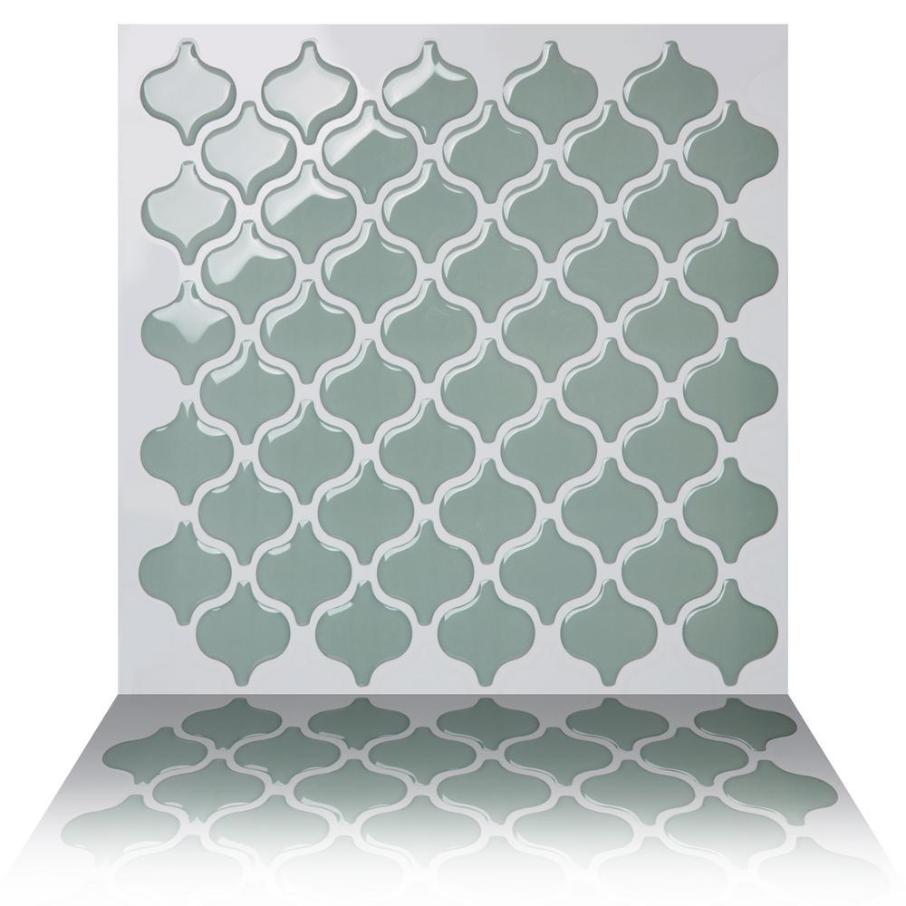 Damask Jade 10 in. W x 10 in. H Peel and Stick Self-Adhesive Decorative Mosaic Wall Tile Backsplash (5-Tiles)