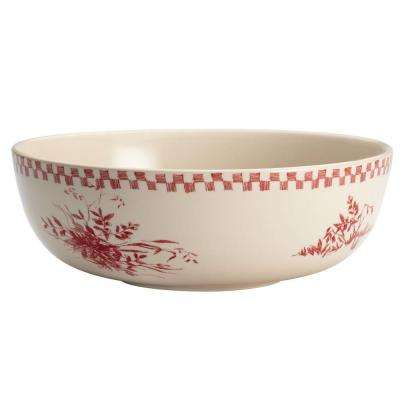 Dinnerware Chanticleer Country 9 in. Stoneware Round Serving Bowl in Burgundy Red