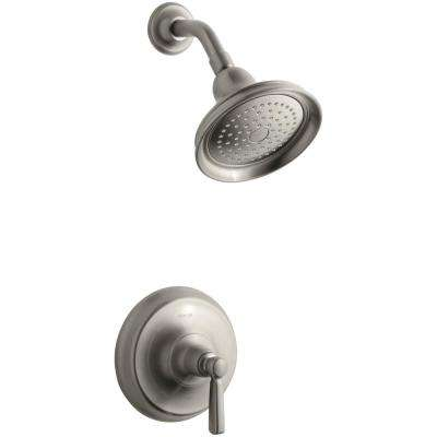 Bancroft 1-Spray 6.38 in. 2.5 GPM Fixed Shower Head with Metal Lever Handle in Brushed Nickel