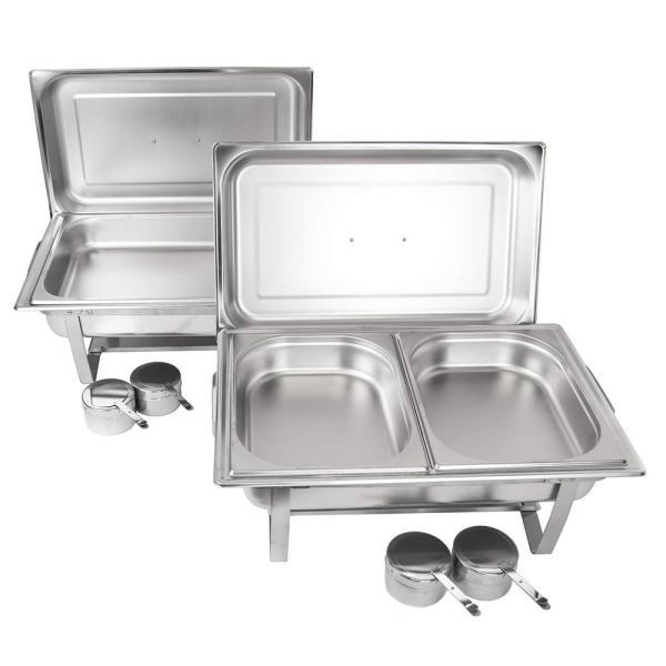 PACK OF 2 CHAFING DISHES /& FIVE EXTRA FOOD PANS ***FREE NEXT DAY DELIVERY***