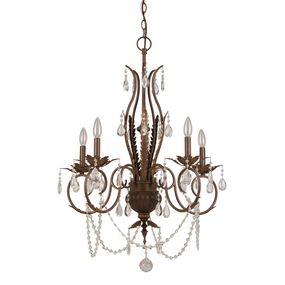Hampton bay 5 light bronze crystal chandelier bvb9115a the home depot hampton bay 5 light bronze crystal chandelier aloadofball Image collections