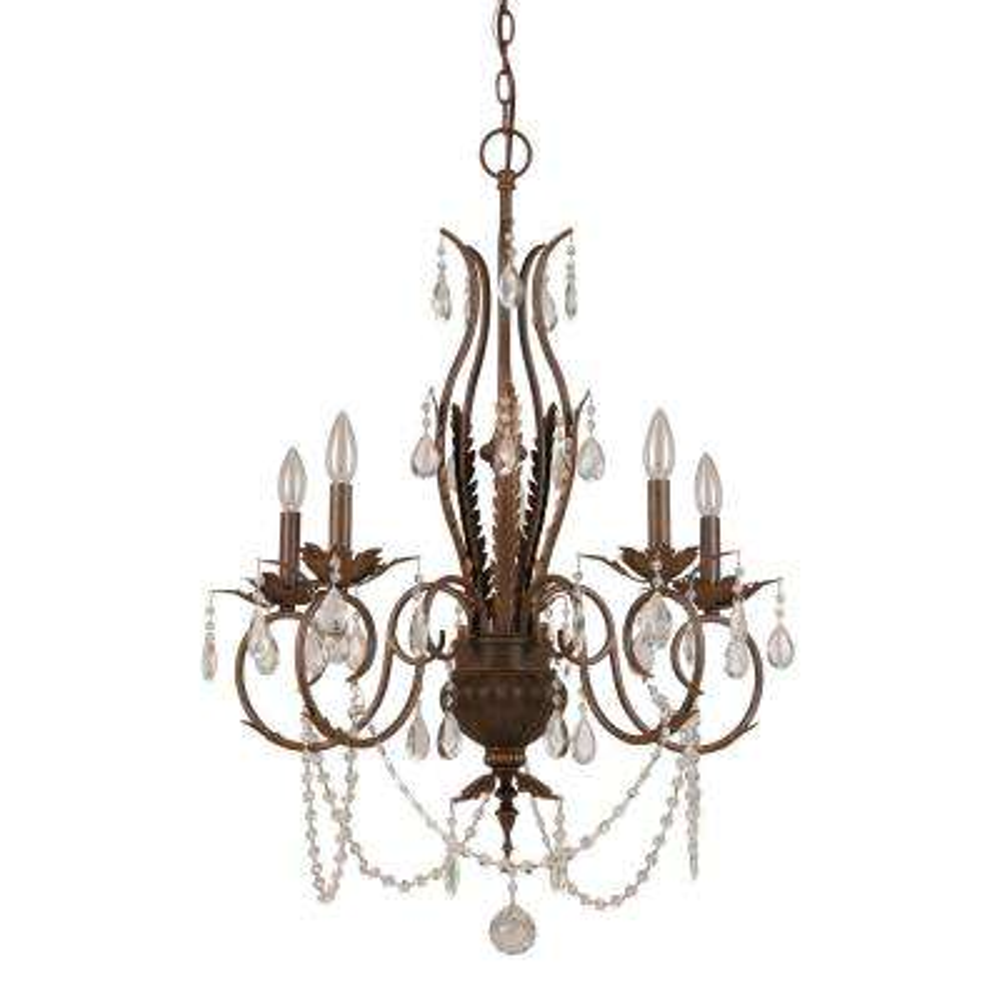 5-Light Bronze Crystal Chandelier