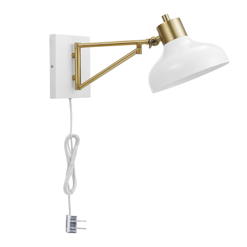 Globe Electric Berkeley 1 Light White And Br Plug In Or Hardwire Swing Arm Wall Sconce