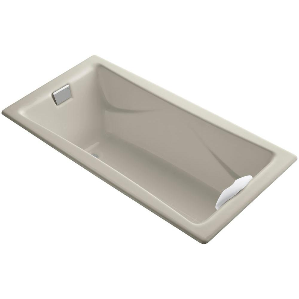 KOHLER Tea-for-Two 6 ft. Reversible Drain Bathtub in Sandbar