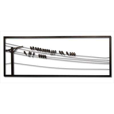 Birds on Wire 48 in. W x 1 in. D x 18 in. H Metal Wall Art