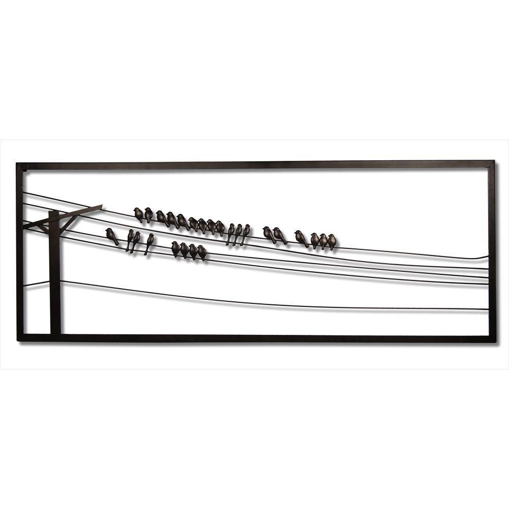 Birds on Wire 48 in. W x 1 in. D x 18 in. H Metal Wall Art