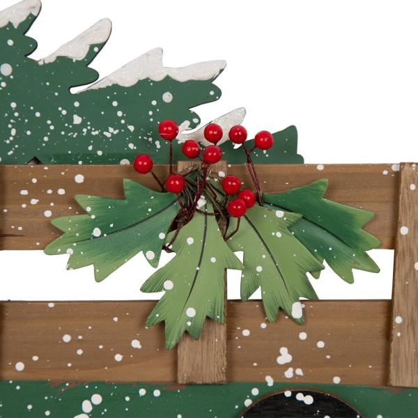 Glitzhome 24 02 In H Iron Wooden Christmas Truck Yard Stack 1106004401 The Home Depot