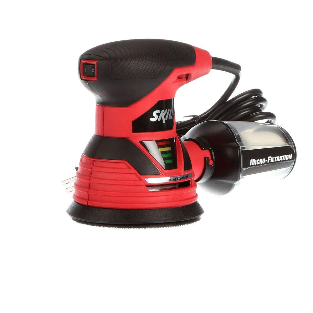 Skil 2.8 Amp Corded Electric 5 in. Random Orbital Sander with Dust Canister and 3 Sanding Discs