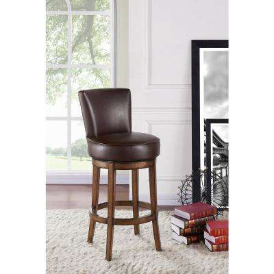 Boston 30 in. Kahlua Faux Leather and Chestnut Wood Finish Swivel Barstool