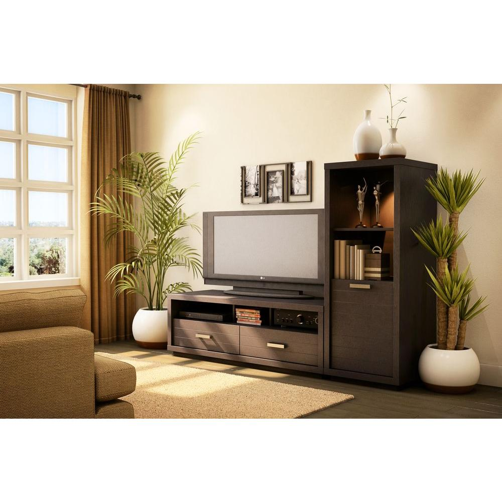 South Shore Skyline 50 Disk Capacity Tv Stand In Chocolate 4359663